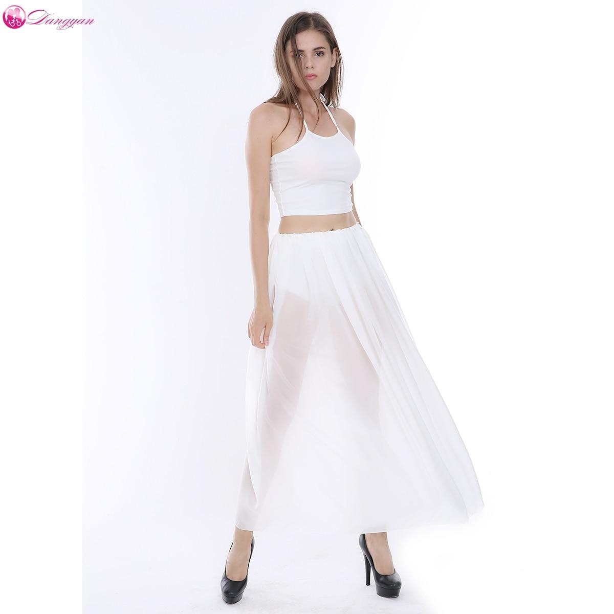 DangYan 2017 Summer Dress Womens two pieces Sexy Dresses Party Night Club Dress Chiffon Halter White Women Vestidos