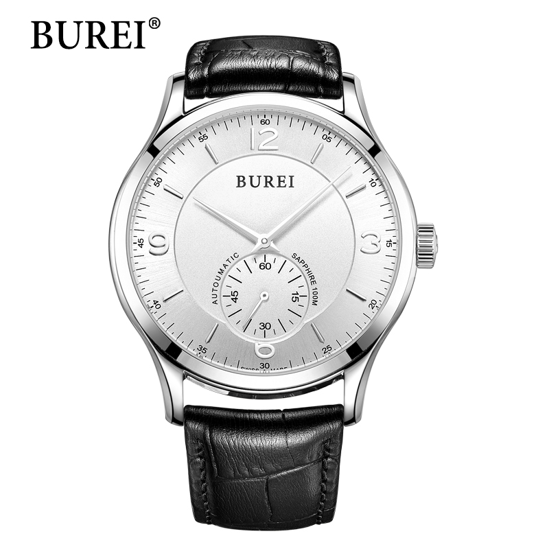 BUREI Watch 2016 Men Watches Top Brand Luxury Clock Black Leather Band Waterproof 50m Sapphire Mechanical Wristwatches Hot Sale burei men watch top brand luxury automatic male clock steel band day and date display white lens mechanical watches hot sale