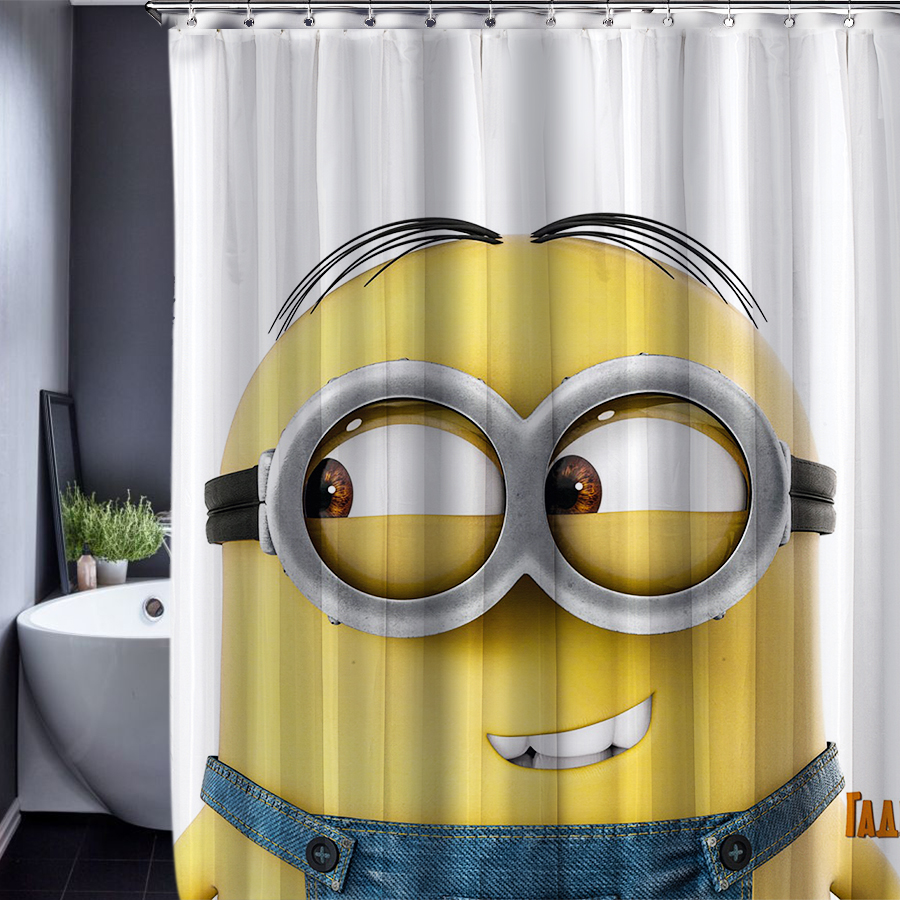 165x180cm Minions Shower Curtains Waterproof Fabric Bathroom Customized Shower Curtains with Hooks
