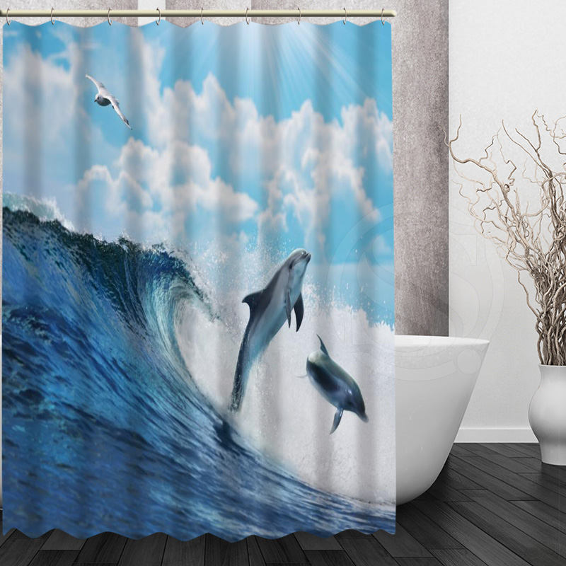 Custom Dolphin New Home Bathroom Shower Curtain Waterproof Unique Design  Creative More Size H0307@10