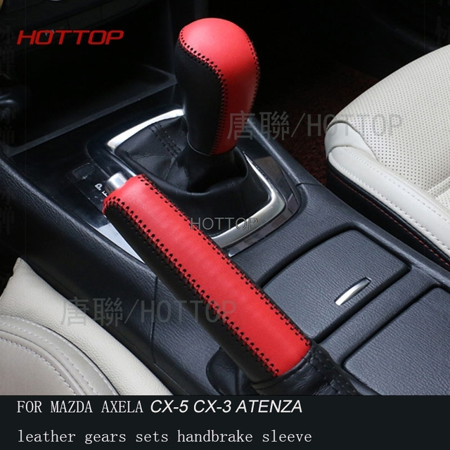 HOTTOP Genuine Leather Gear Shift Knob Cover FOR MAZDA 3 AXELA ATENZA CX 5  CX