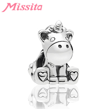 MISSITA Cute Unicorn Animal Beads fit Pandora Original Charm Bracelet DIY Jewelry Women Bracelets Accessories Gift
