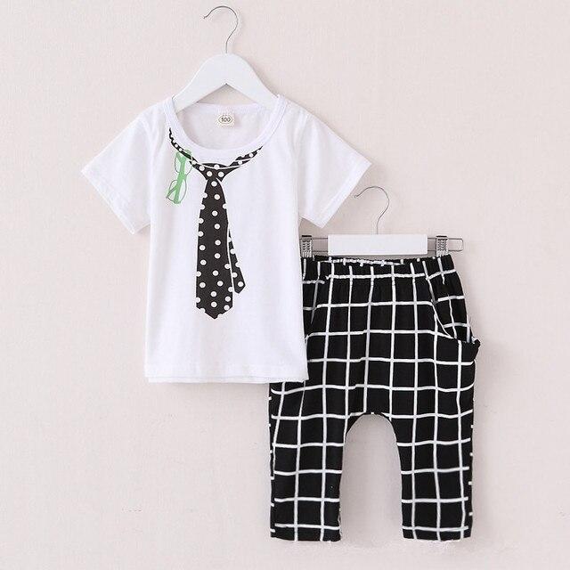 2016 Новый Хлопок Мальчиков Одежда Летние Детская Одежда для Мальчиков галстук Дети Малышей Baby Boy Комплект Одежды Рубашки + Мальчик Плед Короткий брюки