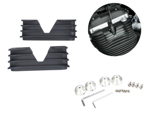 Black Finned Spark Plug HeadBolt Covers For Harley 2004-UP Sportster XL 1200 883