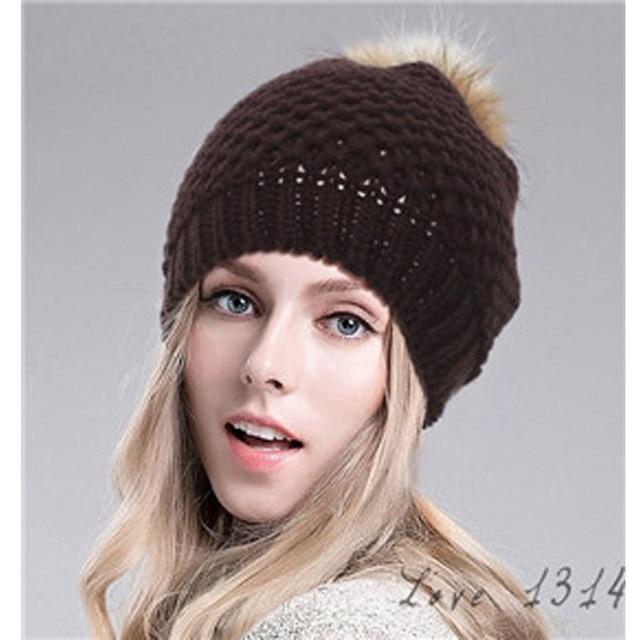 Classic Tight Knitted Fur Hat Women Cap Winter Beanie Headgear Headdress  Head Warmer Net Hats Top Quality Grey Coffee SV012440 8a85364db28