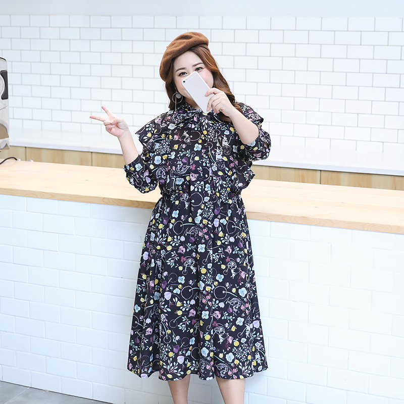 2018 spring dress with new fat sister and extra size chiffon lady lotus leaf side dress in Dresses from Women 39 s Clothing