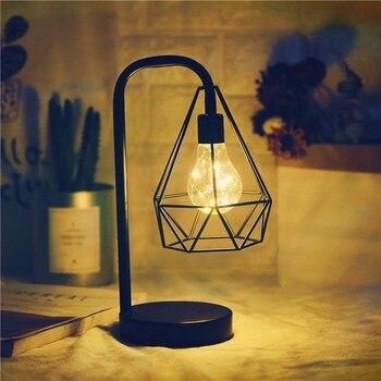 אופנה יהלומי צורת מנורת שולחן סוללה מופעל שינה קישוט שולחן לילה אור עם מתג ברזל אמנות צילום אבזרי