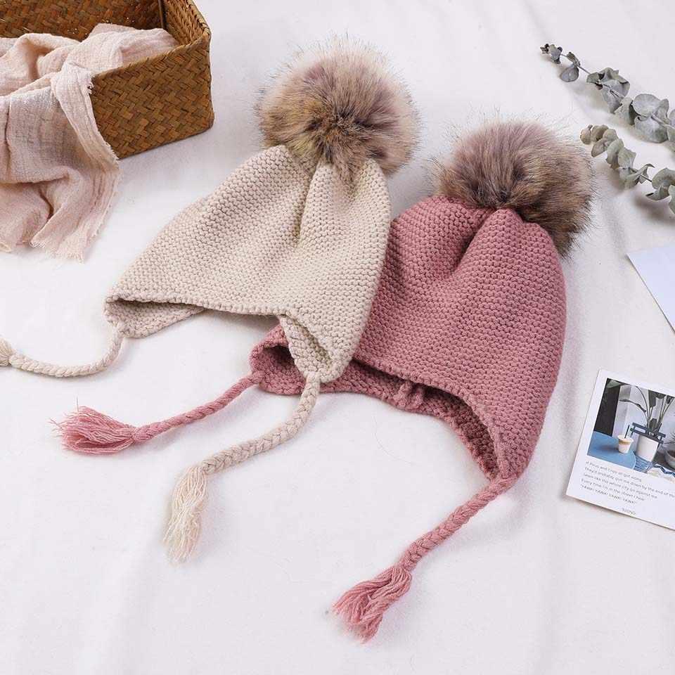 fa26b87201e ... Knitted Winter Baby Warm Hats Children Fur Pom Pom Hats Baby Girls Boys  Kids Skullies Beanies ...