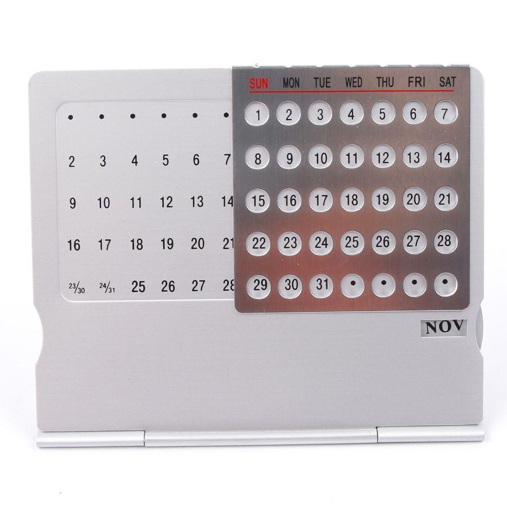 Perpetual Calendar Mini Aluminium Alloy Stand Adjustable Table Calendar DIY School Office Desktop Planner Drop Shipping
