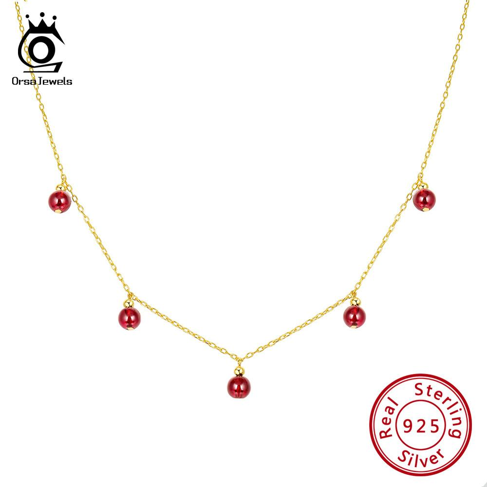 ORSA JEWELS Silver 925 Women Necklaces Natural Red Stone Garnet Beads 18K Gold Plated Choker Necklace Fine Jewelry 2019 OSN149 R in Necklaces from Jewelry Accessories