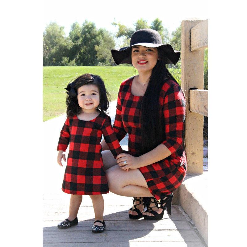 Mom Girl Family Matching Mini Dresses Costume Women Mother Kid
