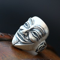 Ecoworld Ge jewelry wholesale genuine 990 fine silver ring ghost Mens Silver Ring Vintage Silver Ring Opening