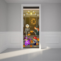 Hot New Hallowmas Holiday Removable Water Proof Wall Sticker Door Sticker Door Paper For Hallowmas Home Room Decor Wall Decor