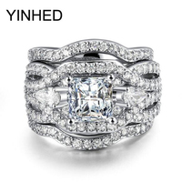 YINHED Anti Allergy 3 Rounds Cubic Zirconia Engagement Rings Sets Gold Color Crystal Wedding Jewelry Ring