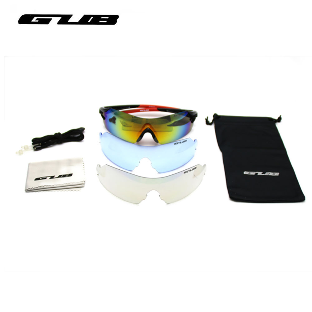 Cycling Eyewear 3 Lens GUB 4000 Men Polarized Cycling Glasses Outdoor Sports Bicycle Glasses Bike Sunglasses TR90 Goggles queshark men polarized fishing sunglasses camping hiking goggles uv400 protection bike cycling glasses sports fishing eyewear
