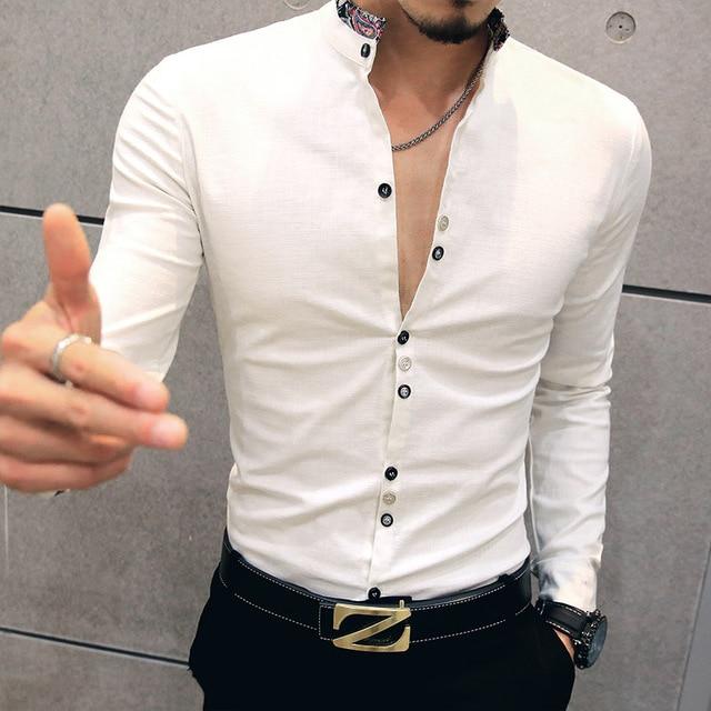 2017 повседневный Цветочный воротник мужской моды хлопка с длинными рукавами рубашки мужские большой размер футболки Тонкий 4XL 5XL Белый синий