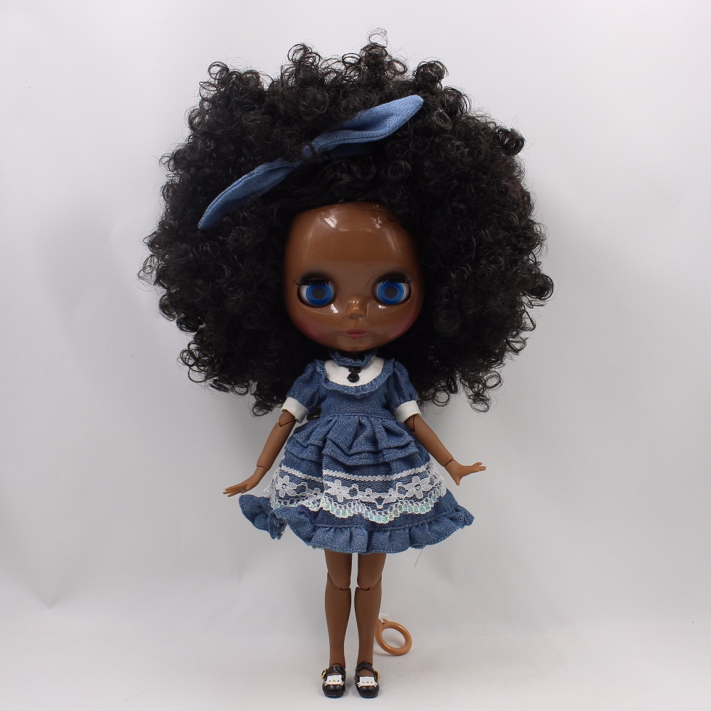 Neo Blythe Doll with Black Hair, Black skin, Shiny Face & Jointed Body 4