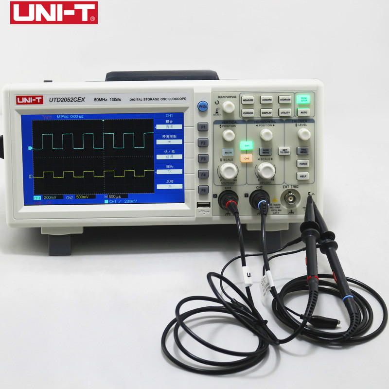 UNI-T UTD2052CEX Digital Storage Oscilloscopes 2CH 50MHZ Scope meter 7 inches widescreen LCD displays USB OTG Interface