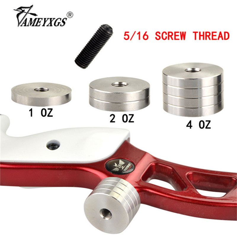 1oz/2oz/4oz Archery Recurve Bow Stabilizer Counterweight 5/16 Thread Bow Riser Shock Absorber Weight Hunting Shooting Accesories