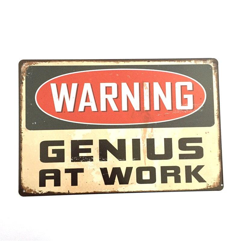 Genius Винтаж Металл Картина Ретро металлическая банка знак 20 см * 30 см Предупреждение Genius на работе плакаты стены дома украшения