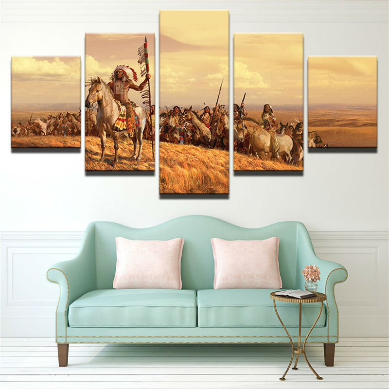 5 Panel American Native Tribes Indian Wall Art Picture Home Rhaliexpress: Native American Paintings For Living Room At Home Improvement Advice