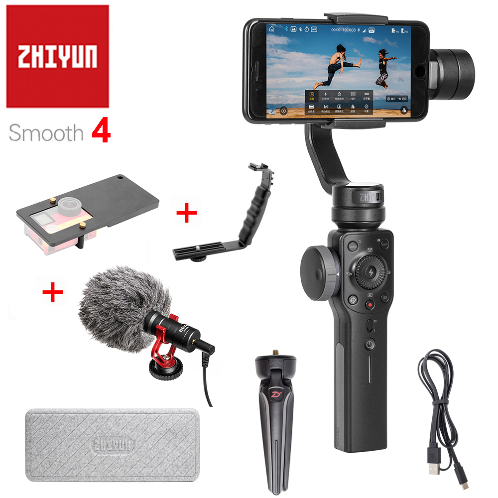 Zhiyun Smooth 4 3-Axis Handheld Smartphone Gimbal Stabilizer VS Zhiyun Smooth Q Model for iPhone X 8Plus 8 7 6S Samsung S9 S8 S7