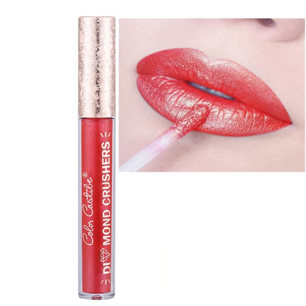 2017 Shiny Diamond Lip Gloss Gold Charming Long Lasting Tattoo Liquid Lipstick Flash Powder Metallic Lipstick Ruby-rose-cosmetic 3concept eyes 4 pen style moisturizing lipstick lip gloss pink
