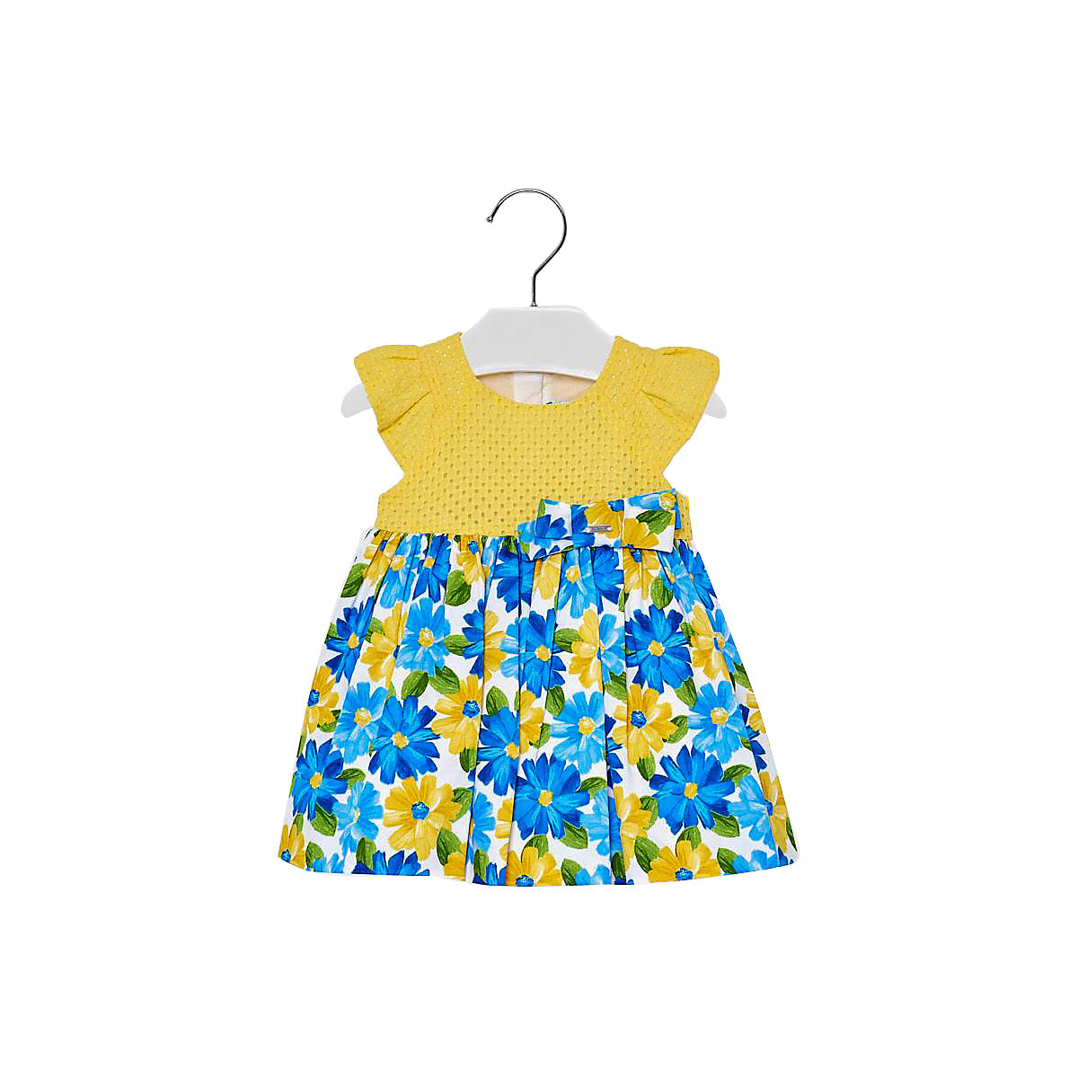 Фото - MAYORAL Dresses 10685337 Girl Children fitted pleated skirt Yellow Cotton Casual Floral Knee-Length Sleeveless Sleeve box pleated floral volume skirt