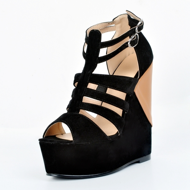 035e30344c Black And Brown Open Toe T-Strap Women Sandals Wedge High Heels Platform  Comfortable Summer Shoes Ladies Sexy Club Shoes