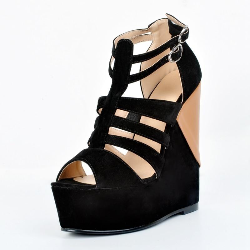 Negro Abierto Damas Sexy Tacones Las Sandalias Dedo Del Verano Mujeres Black Alta correa Marrón Plataforma Club Y Brown Pie Cómodo T De Zapatos Cuña EHqr4H