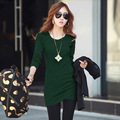 Autumn large size women's long-sleeved t-shirt women in the long section of the bottoming shirt bag hip self-cultivation cotton