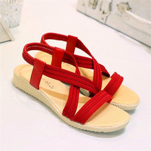 Summer new simple casual flat fish mouth solid color elastic band womens sandals