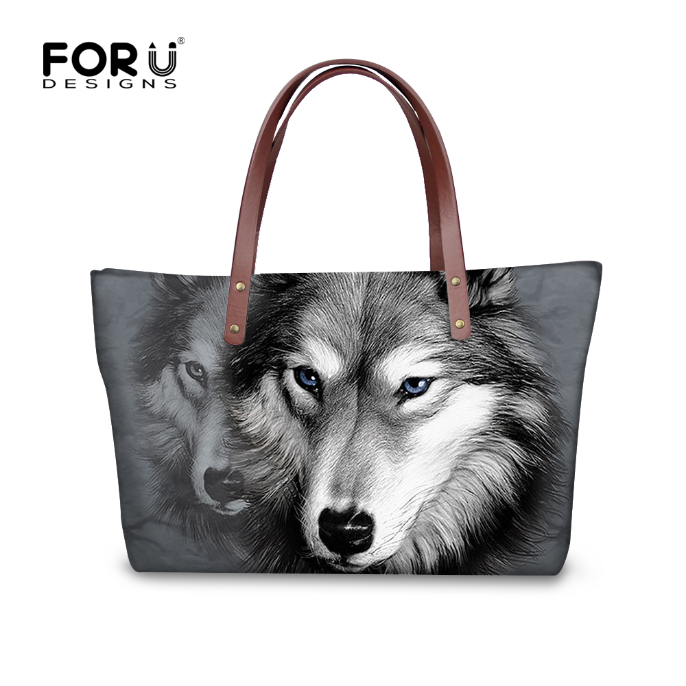 Cool Wolf Designers Large Women's Tote Bags 3D Animal High Quality Lady Handbag