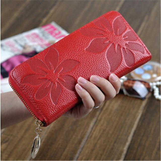 New Fashion Flower Print Genuine Leather Bag Women Wallets Coin Purse Female Women Wallet Lady Vintage Clutch Bag Zipper Purses
