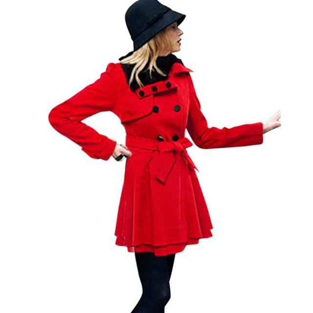 2017 New Autumn Winter Women Slim Long Wool Double Breasted Coat Thick  Red Khaki