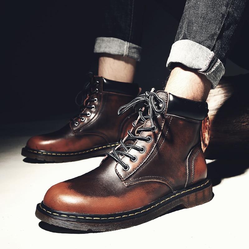 Hommes Confortable Mode Cheville Noir Printemps Automne Lace Chaussures Casual Male Brun Noir Bottes 2018 rouge marron Martin Up D'hiver wf5FqBF