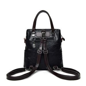 Image 4 - Fashion Tassel Womens Backpack Multifunction Backpacks for Women Large Capacity School Bag for Girls Leather backpack female