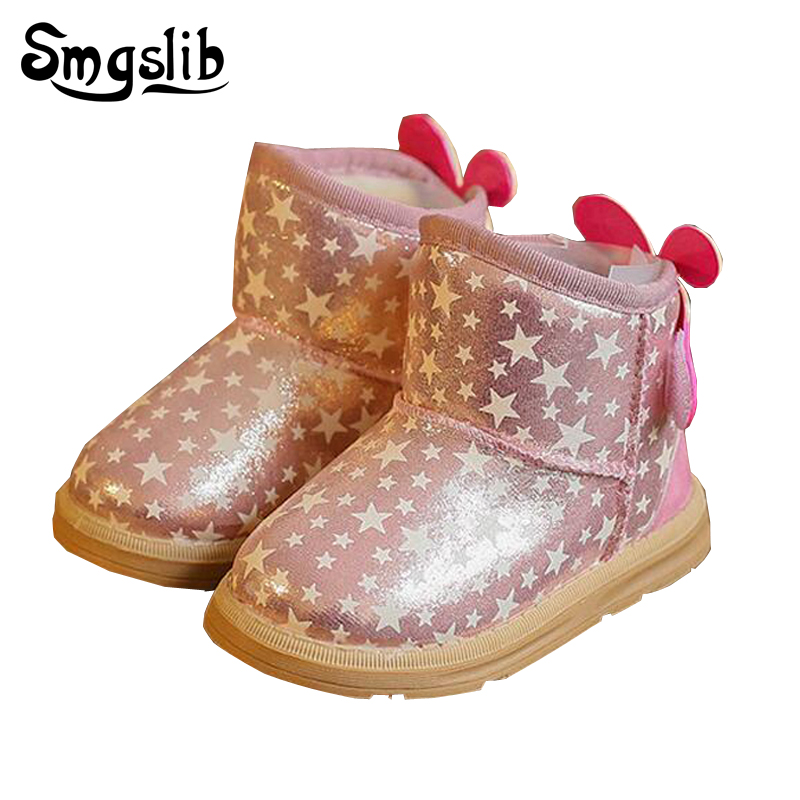 Toddler girls boots kids light up shoes Princess girls snow boots kids winter with fur Thick