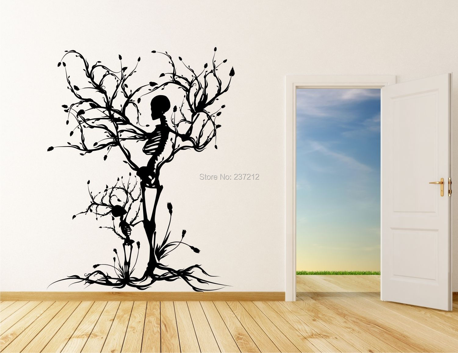 Free shipping Conceptual Tree Vinyl Wall Art / Stickers Decals skull tree Halloween wall stickers Transfers