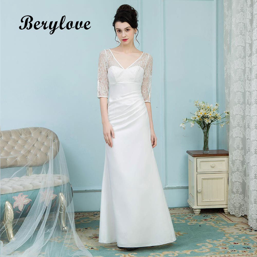 BeryLove White Mermaid Evening Dresses With Sleeves V Neck Lace Prom ...