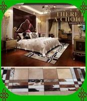 2018 free shipping 100% natural genuine cowhide 3 piece bath rug sets