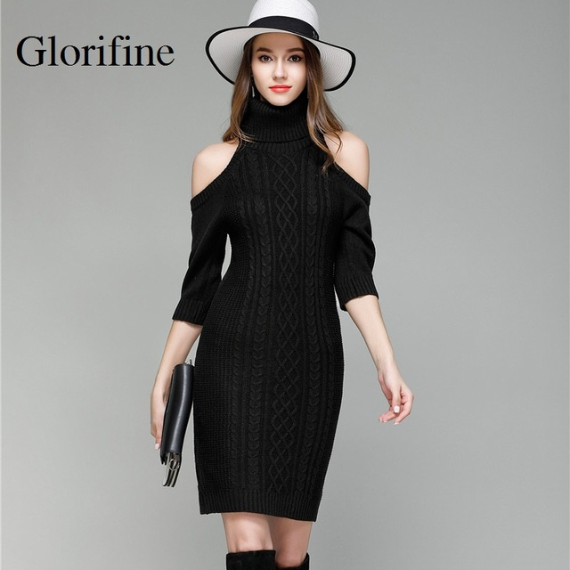 cd5adb1c117 Glorifine Brand 2018 Women Turtleneck Solid Gray Sexy Slim Long Sweater  Dress Half Sleeve Off Shoulder Knitted Women Pullover