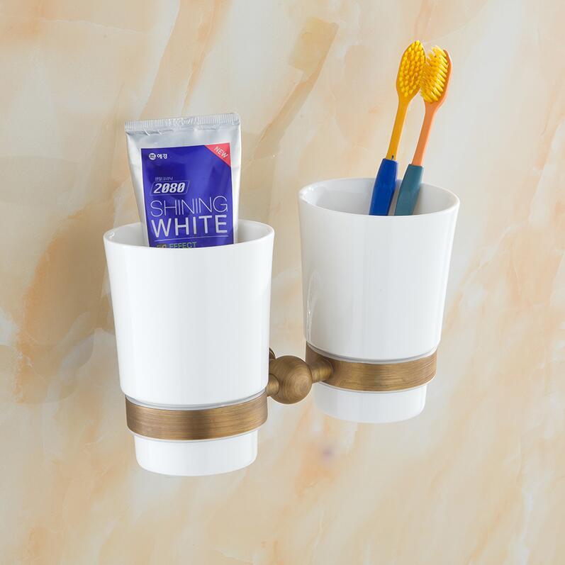 Bathroom Accessories,Fashion Ceramics Antique Brass Finish Toothbrush Tumbler&Cup Holder,Creative Design,wall mounted Bath flg bathroom accessories wall mounted tumbler holder cup