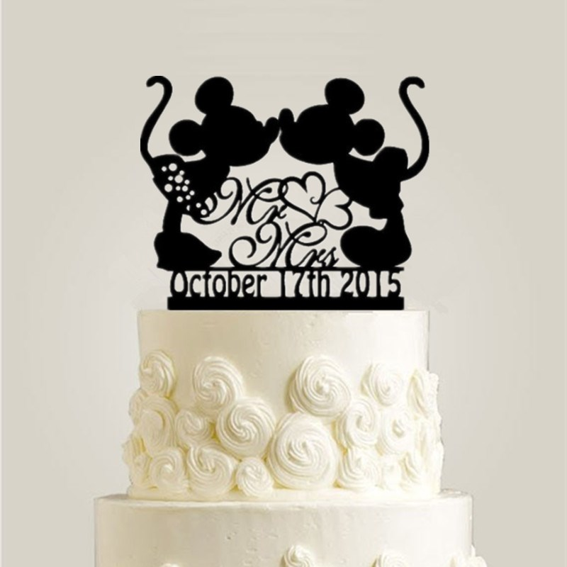 Black Acrylic Mickey Minnie Cake Topper Personalized ...
