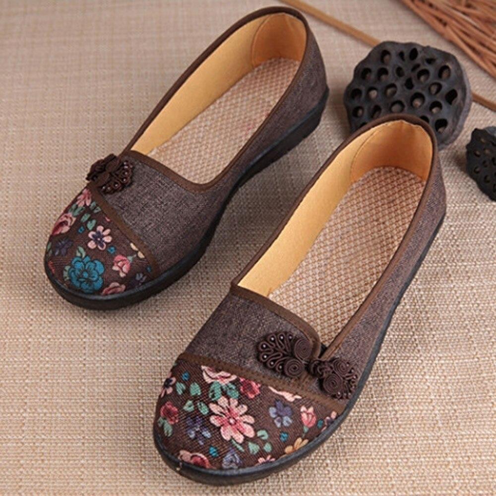 Women Shallow Broken Flower Round Toe Anti Skidding Cloth Shoes Casual Shoes 2018 New women casual flat shoes woman terlik 16