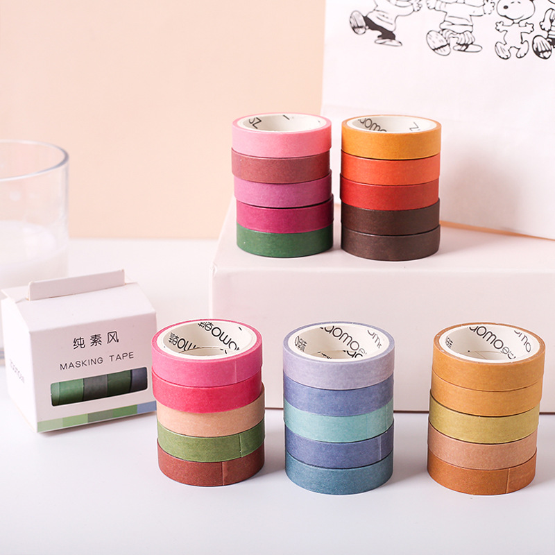 5 Pcs/pack Solid Color Decorative Washi Tape Set Japanese Paper Stickers Scrapbooking Adhesive Washitape Stationary