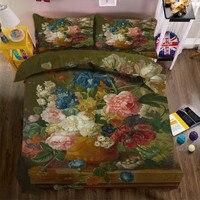 Fleur peinture à l'huile 3D Literie De Luxe ensemble Double Roi Reine taille Drap ensemble housse de Couette Taies D'oreiller