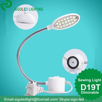 Безплатна доставка-2бр. / Лот D19T-1w Диммируеми инструменти за шиене на аксесоари LED шиене на светлина gooseneck магнитни монтажни основни работни лампи
