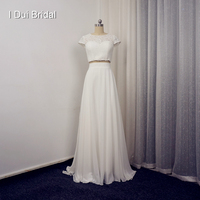 Short Sleeve Two Piece Lace Top Wedding Dresses Real Photo High Quality Button Back Custom Made