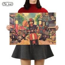1 Uds papel Kraft clásico Anime Poster una pieza Series Street edición Bar Café decoración del hogar 50.5X35cm